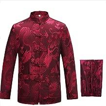 KIKIGOAL Mens Martial Arts Kung Fu Uniform Long Sleeve Tang Suit With Dargon Pattern