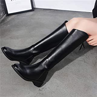 Women's Black Boots Casual Fashion Round Toe Belt Straight High Heels Square Thick With High Boots New Listing