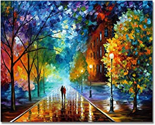 RIHE Paint by Numbers Kits DIY Oil Painting for Adults Kids Beginner- Romantic Night 16x20 Inch (Frameless) Frameless Mult...