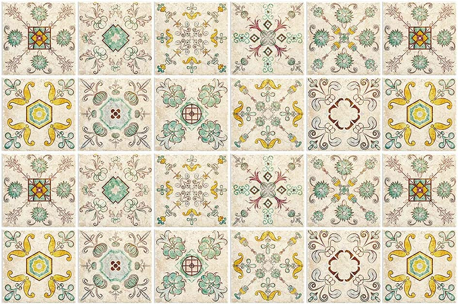 New color BROWSHAPER 24pcs Mexican Backsplash Tile Ranking TOP18 Stick Peel Stickers Flo