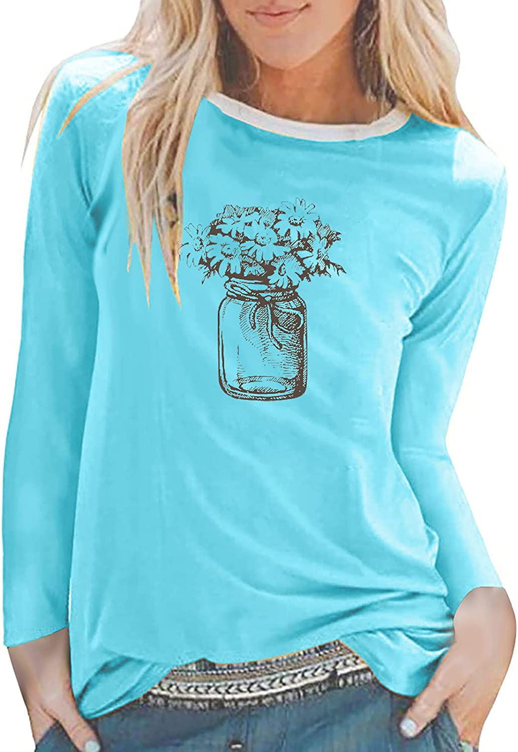 Auwer Women's Sunflower Straw Hat Print T-Shirts Casual Long Sleeve Tops Round Neck Tees Breathable Loose Fit Blouses Tunics