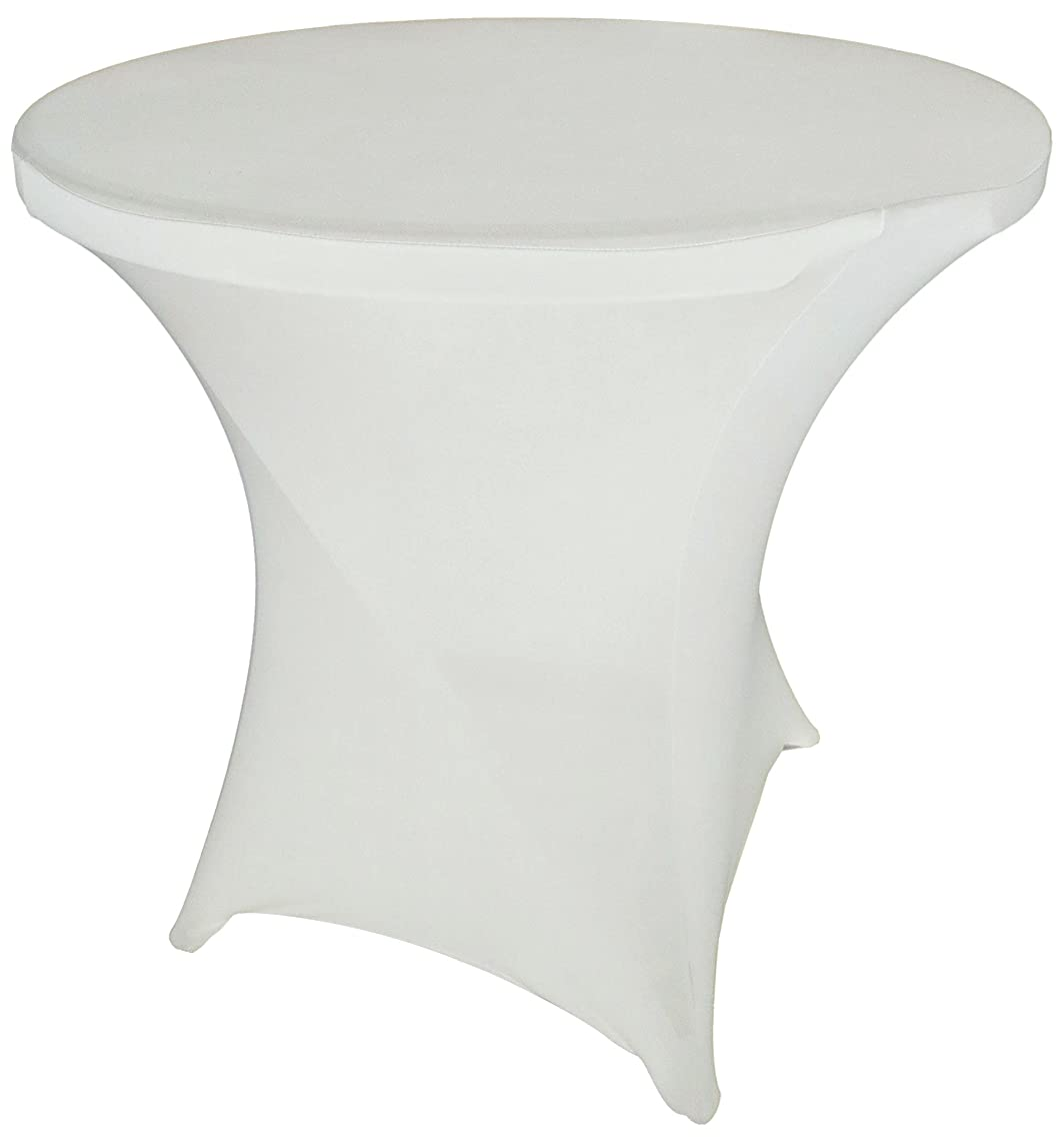 Goldstream Point White 32 Inch Round x 30 Inch Tall Spandex Cocktail Tablecloth Folding Cover Stretch