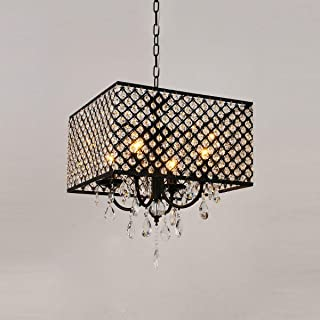 Pendant Light Kit Crystal Chandelier, Modern Chandeliers Crystal Light Fixture, Ceiling Light 7.8 Inches Diameter LED Lamps for Hallway, Bedroom, Living Room, Kitchen, Dining Room, 4 Light