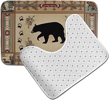 DPQZ Bathroom Rugs Sets 2 Piece Non Slip Vintage Rustic Lodge Bear Moose Brown Shower Bath Mats U-Shape Contour Toilet Rug Ma