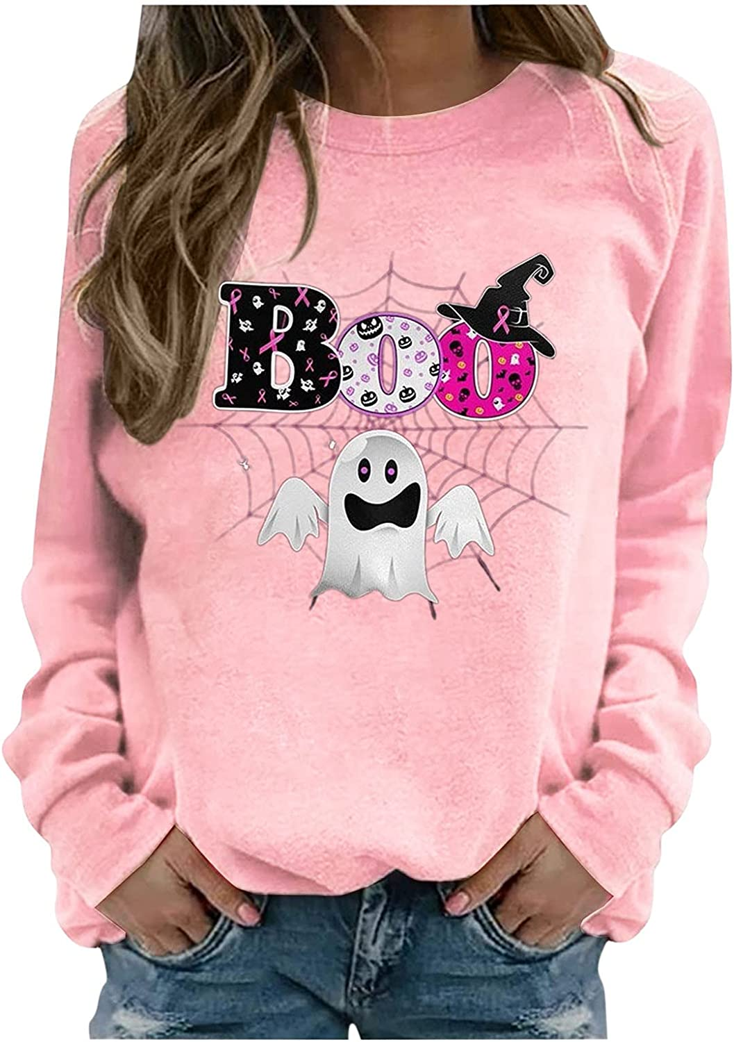 Sweatshirts For Women Breast Cancer store Print Crew Neck Month Blouse Max 83% OFF