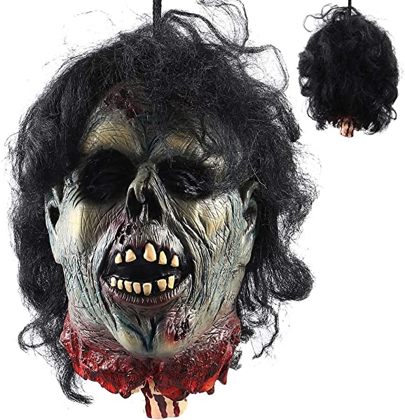 ODOMY Halloween Severed Head Props Hanging Scary Bloody Cut Off Head Latex Zombie Halloween Decorations Style 1
