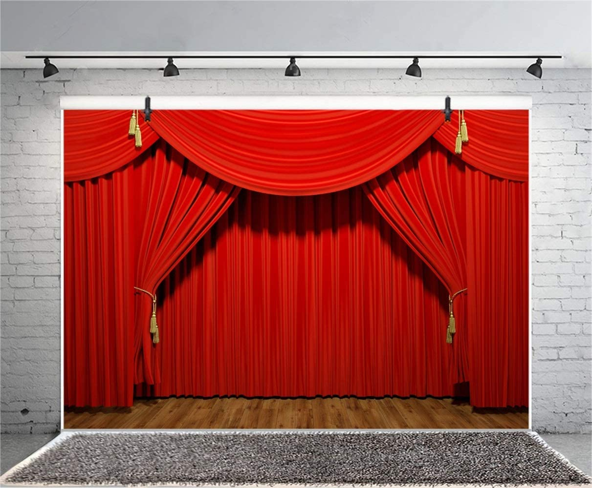 10x6.5ft Dark Wooden Stage Backdrop Polyester Faint Light Red Curtain Valance Rustic Grunge Wooden Floor Background Performance Show Award Ceremony Banner Talent Show Openning Ceremony Shoot