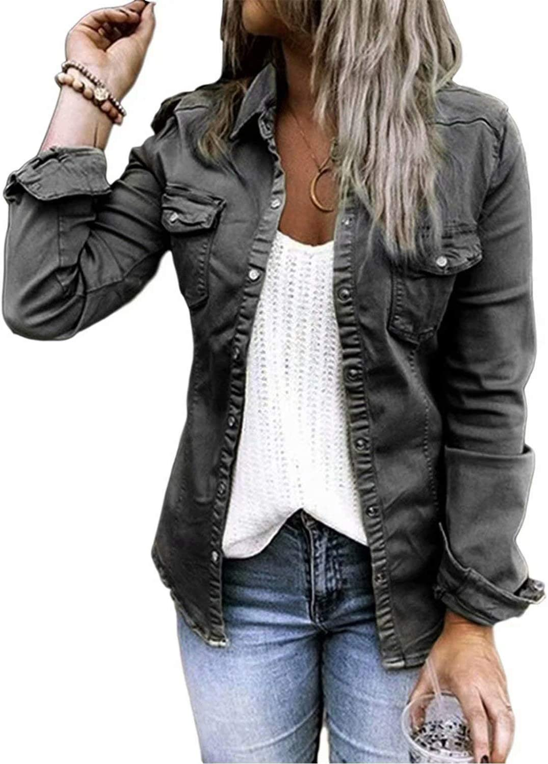 Womens Casual Long Sleeve Button Down Blouse Shirt Slim Solid Denim Jacket Tops