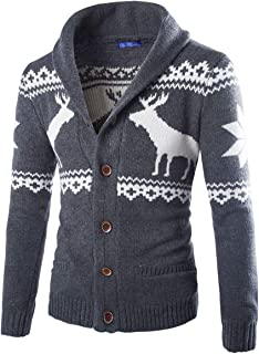 Men's Vintage Christmas Elk Pattern Knitted Cardigan Jumpers Button Up Christmas Reindeer Cardigan Sweater