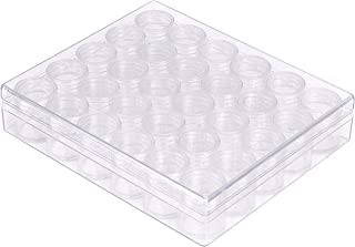 Translucent Diamond Storage Container - 30 Pots Suitable for Art and Craft Supply Items, Deep Utility Organization & Jewelry - Clear Plastic Compartment Box with Removable Pot Style Dividers