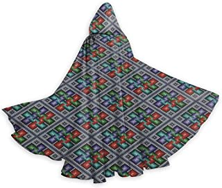 Adult Hooded Halloween Cloak Costumes Party Cape,Traditional Folk Pattern in Knitting Form South American Ecuador Geometric Tropical