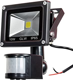 GLW 12V AC or DC LED Motion Sensor Flood Light,10W Mini IP65 Waterproof Outdoor Light,900LM,6000K,Daylight White Security Light with PIR,80W Halogen Bulb Equivalent[NO Plug]