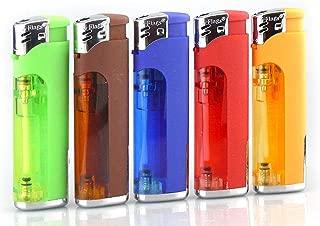 Smoke Mart Refillable Butane Cigarette Lighter with LED Flashlight (Quantity of 5)