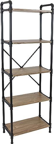 popular Sunnydaze 5-Tier Freestanding Industrial Bookshelf 2021 for Living Room - Black Pipe Style outlet sale Frame with Wood Veneer Shelves - Brown sale