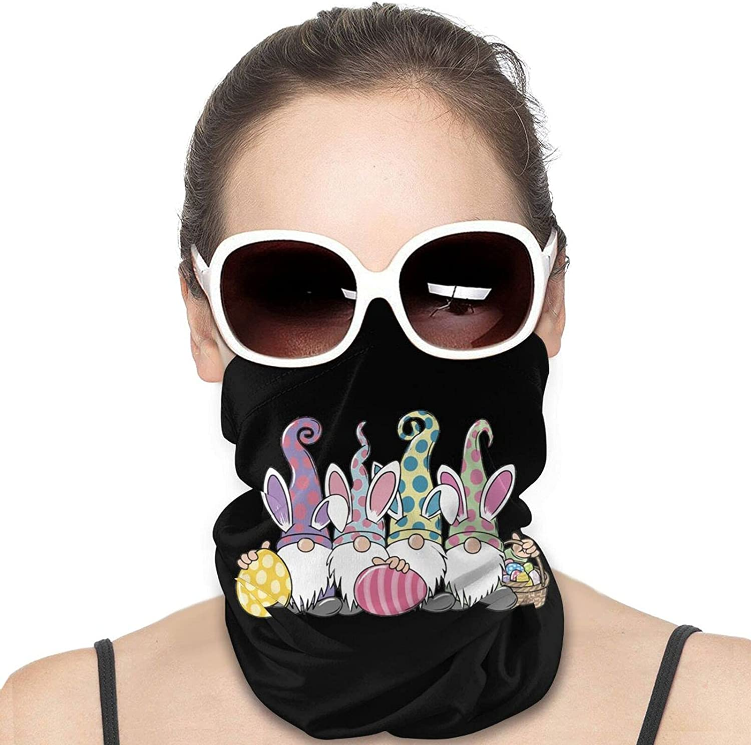 Easter Gnome Round Neck Gaiter Bandnas Face Cover Uv Protection Prevent bask in Ice Scarf Headbands Perfect for Motorcycle Cycling Running Festival Raves Outdoors