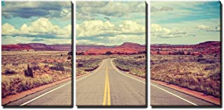 wall26 - 3 Piece Canvas Wall Art - Vintage Stylized Desert Road, Travel Concept. - Modern Home Decor Stretched and Framed Ready to Hang - 16