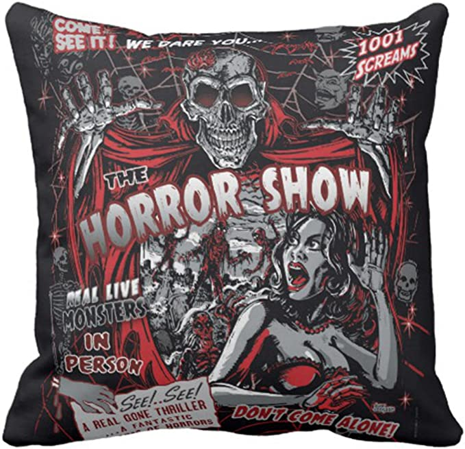Emvency Throw Pillow Cover Horror Movie Monsters Spook Show Decorative Pillow Case Halloween Home Decor Square 18x18 Inch Cushion Pillowcase Home Kitchen