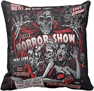 Emvency Throw Pillow Cover Horror Movie Monsters Spook Show Decorative Pillow Case Halloween Home Decor Square 18x18 Inch Cushion Pillowcase