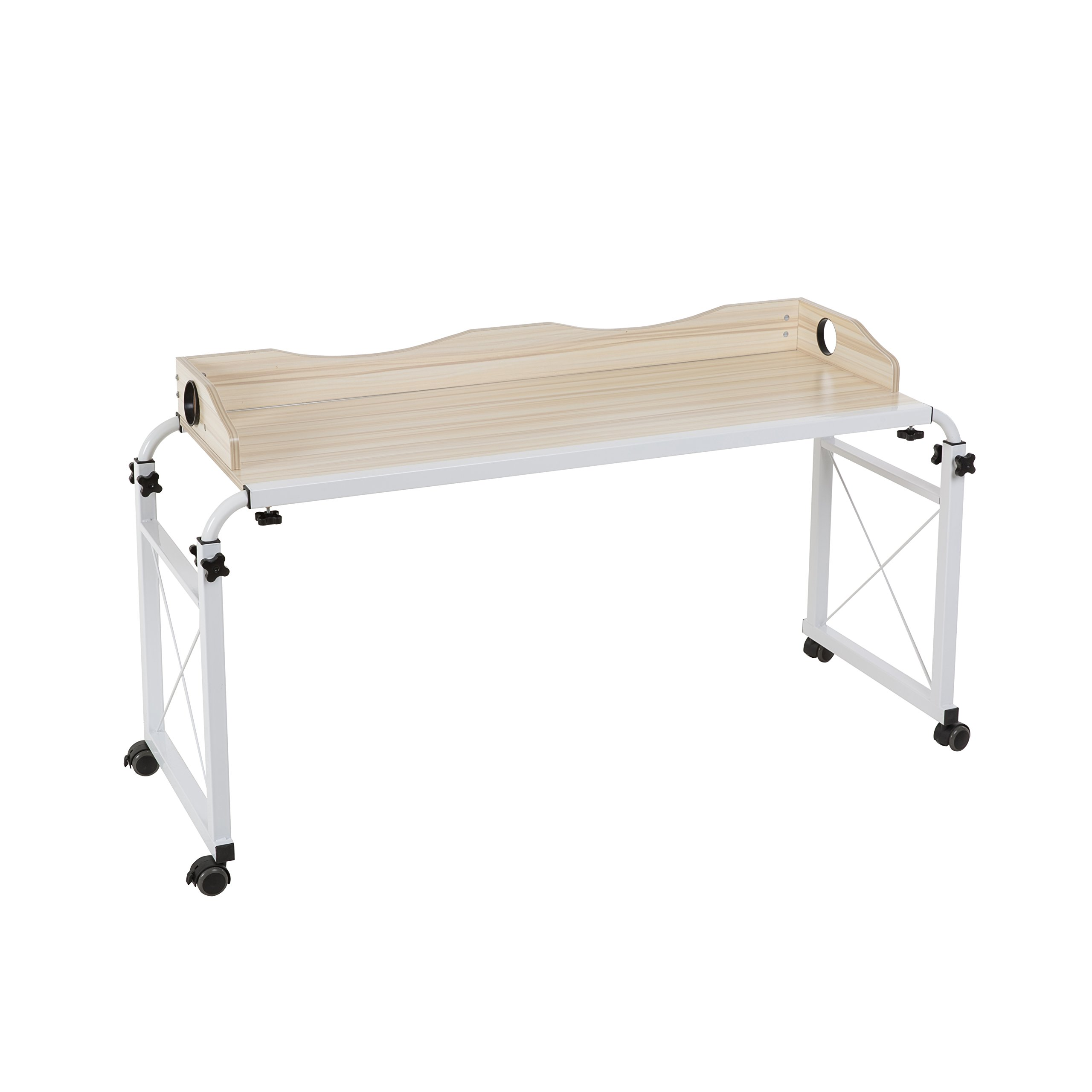 1.2m Happybuy 47 Inch Overbed Table with Wheels 1M Rolling Bed Table Mobile Over The Bed Table Laptop Cart Standing Workstation Computer Desk for Bed Hospital Home Office