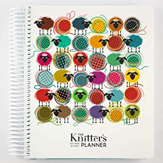 "The Knitter`s Planner 2020 Monthly and Weekly Planner Journal, 8"" x 10"": Filled with Tools for Every Knitter, Laminated Cover and Tabs (Sheep Cover, Monday Start Date, Horizontal Layout)"