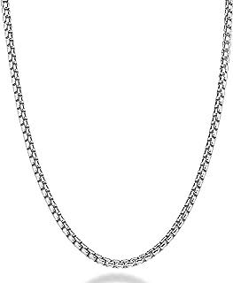 Miabella Solid 925 Sterling Silver Italian 3.5mm Square Rolo Link Round Box Chain Necklace for Women Men, 16, 18, 20, 22, ...