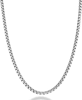 Solid 925 Sterling Silver Italian 3.5mm Square Rolo Link Round Box Chain Necklace Bracelet for Women Men, 7.5, 8, 8.5, 9, 16, 18, 20, 22, 24, 26, 30 Inch Made in Italy