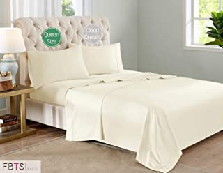 """FBTS Basic Sheet Sets Cotton Microfiber Interwoven (Queen, Beige) Luxury Fitted Sheets with 18"""" Deep Pockets Breathable Super Soft Bed Sheets"""