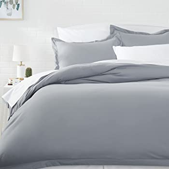 AmazonBasics Light-Weight Microfiber Duvet Cover Set with Snap Buttons - Twin/Twin XL, Dark Grey