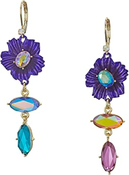 Multicolor Non-Matching Flower Earrings