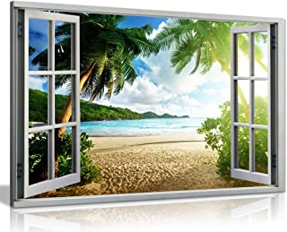 Beach Sunset View 3D Window Effect Canvas Wall Art Picture Print (36x24in)