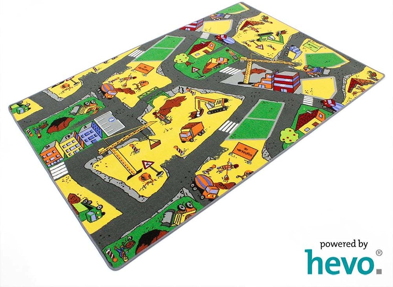 HEVO Baustelle yellow Teppich   Spielteppich   Kinderteppich 200x200 cm OekoTex 100