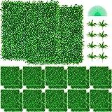 VEVOR Hierba Artificial Verde de 24 Piezas 50,8 x 50,8 cm, Panel de Boj de Hiedra Artificial de Alta Densidad contra UV y 100% PE, Plantas Artificiales Decorativas para Pared, Jardines, Patio Trasero