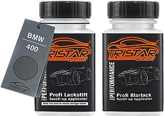 TRISTARcolor Autolack Lackstift Set für BMW 400 Stahlgrau Metallic Basislack Klarlack je 50ml