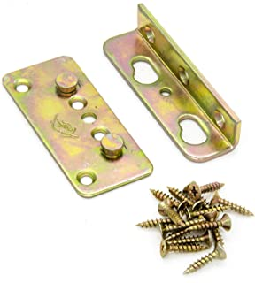 No-Mortise Bed Rail Fittings Complete Set of 4 - Premium Heavy Duty Rust Proof Frame Bracket for Connecting to Wood, Headboards and Foot-Boards, Universal FIT - 3.4 X 1.4 X 0.6 Inch High with Screws