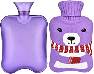 Hot Water Bottle, Sararoom 2L Large Capacity Hot Water Bottle with Washable Removable Knitted Bottle Cover for Warm or Cold Use, Quick Pain Relief-Purple Knitted