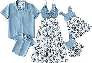 5 Trajes de Verano para Padres e Hijos, Vestido con Mameluco Estampado Floral, Camisa de Solapa de Manga Corta con Bolsillo