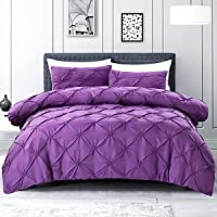 Eternal Moment Pinch Pleat Duvet Cover with Zipper Closure (Purple, Twin)