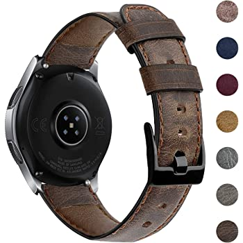EZCO Leather Bands Compatible with Samsung Galaxy Watch 46mm / Galaxy Watch 3 45mm / Gear S3, 22mm Vintage Genuine Leather Band Replacement Strap Wristband Accessories Women Man