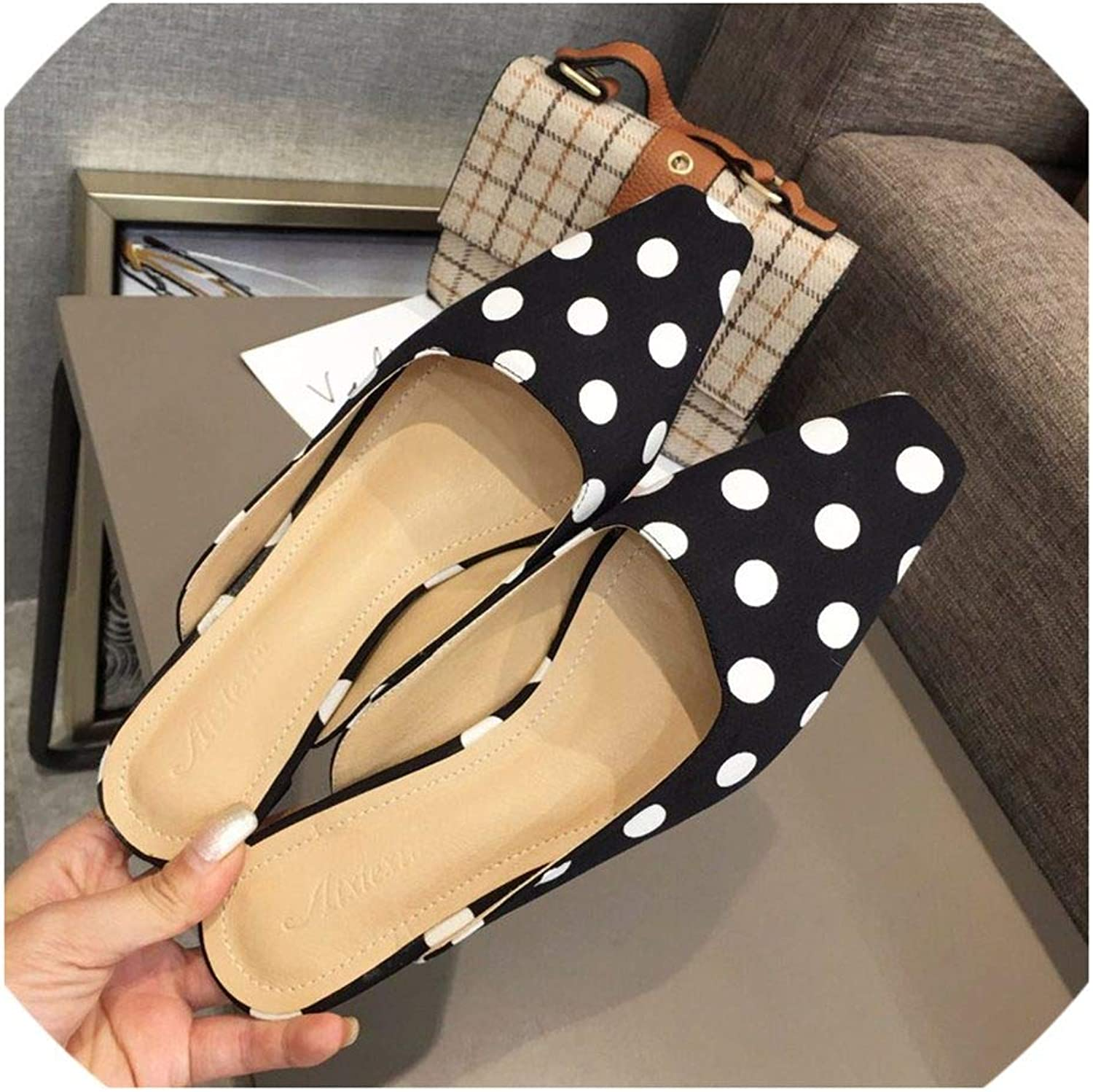 Women Slippers Slip-on Small Heel shoes Outside Slides Spring Summer Ladies Sandals