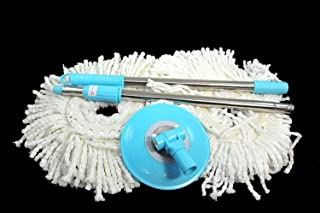 Tripact Inc 360 Rotating Magic Mop - Replacement Handle and 2 Mop Heads - Blue
