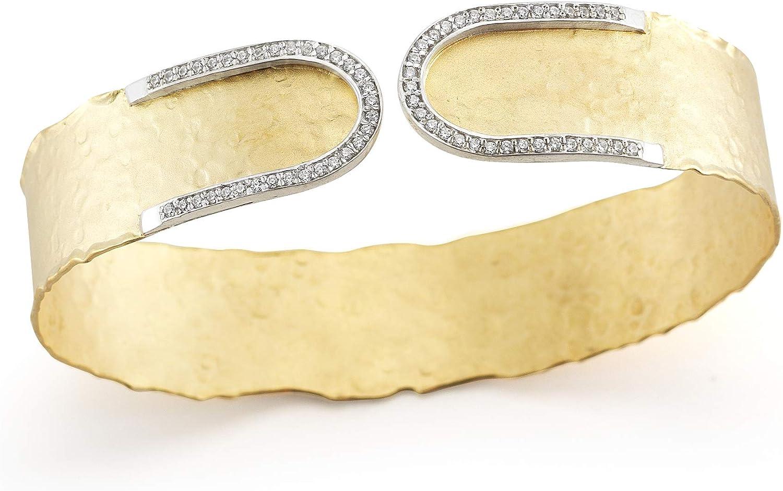14K Yellow Gold 0.4ct TDW Diamond Hammered-finish Narrow Cuff Bracelet