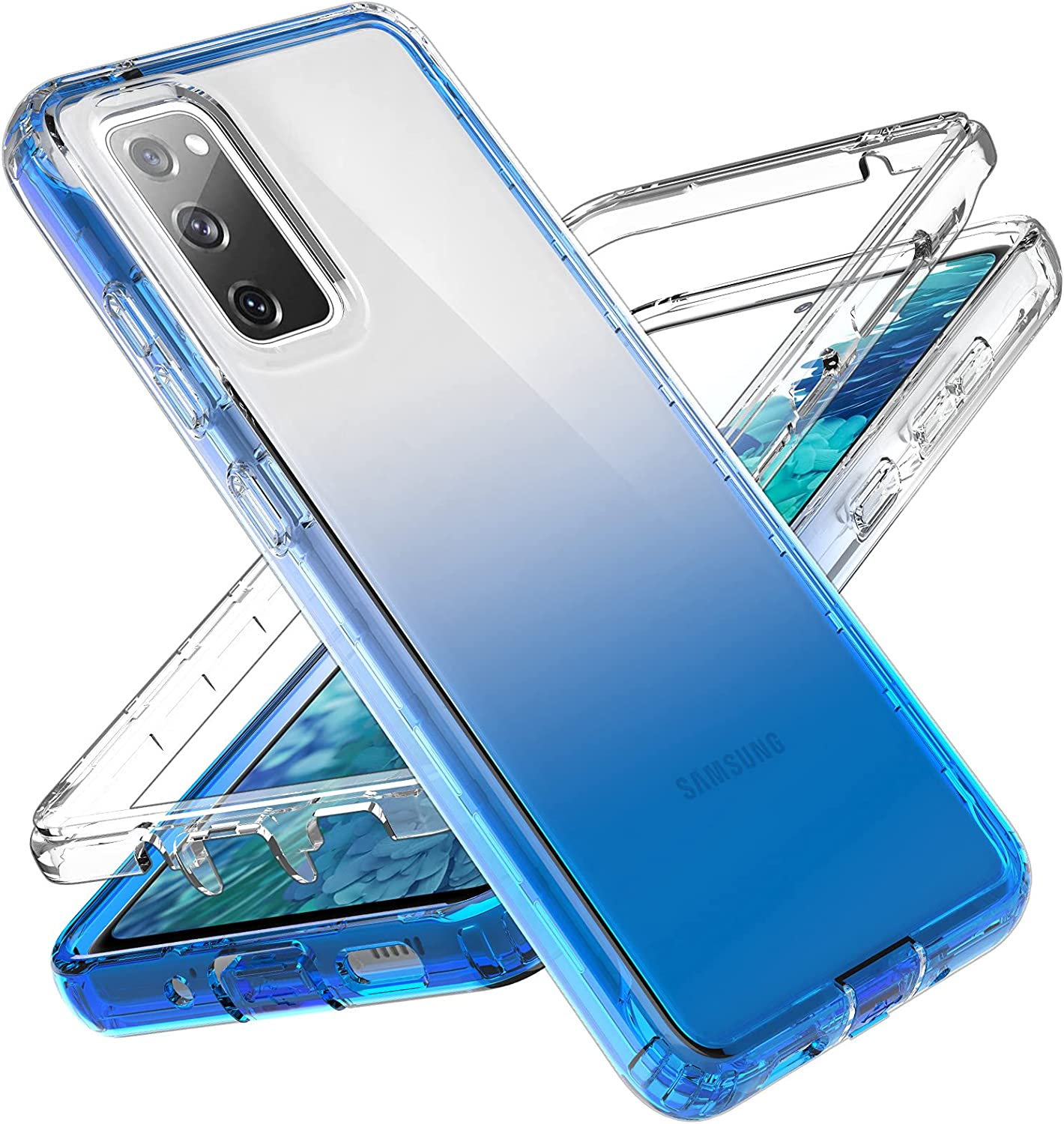 LakiBeibi Designed for Samsung S20 FE Case, 2 in 1 Design Clear Full Body Shockproof Protective Case for Girls Women with TPU Bumper, Slim Fit Phone Case for Samsung Galaxy S20 FE 5G, Clear Blue
