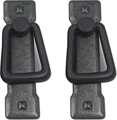 "MTMTOOL 2.2"" Hole Center Mission Style Ring Cabinet Pull with Backplate Black Pack of 2"