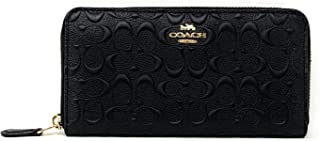 COACH Womens Accordion Zip Wallet in Signature Leather F67566 (Black)