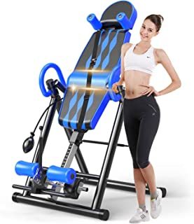 Macticy Premium Foldable Gravity Inversion Table Waist Inflatable Adjustment with Protective Belt Back Therapy Fitness