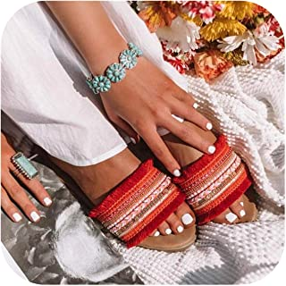 Women Flat Slippers Summer Sexy Fringe Bohemian Beach Sandals Open Toe Ladies Slides Big Size Flip Flops