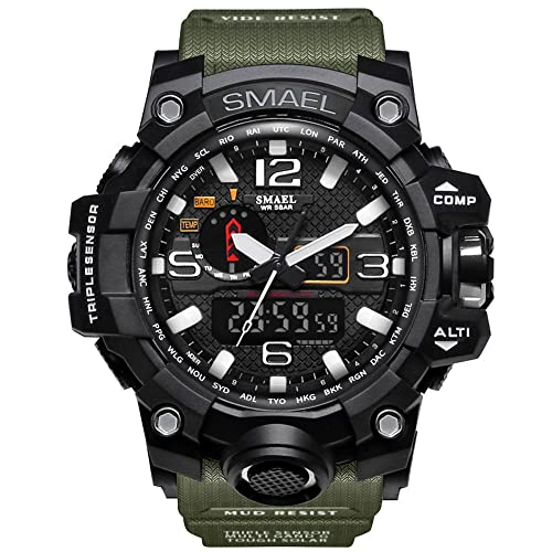 SMAEL Mens Sports Analog Quartz Watch Dual Display Waterproof Digital Watches with LED Backlight Relogio Masculino