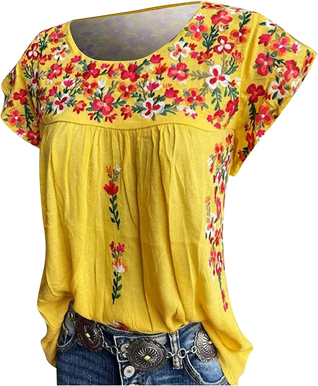 Women's Retro Flowy Tops Short Sleeve Ethnic Floral Print Blouses Leopard Crewneck Casual Tunic Shirts