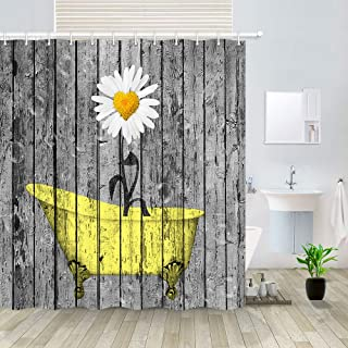 "Floral Flower in Yellow Bathtub Artwork on Rustic Wooden Shower Curtain, Vintage Wood Planks Panels Polyester Fabric Shower Curtain Bathroom Fantastic Decorations Bath Curtains Hooks Included, 69""X70"