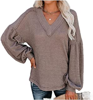 HEFASDM Women's V Neck Comfort Baggy Fall Winter Puff Sleeve Tee Shirt